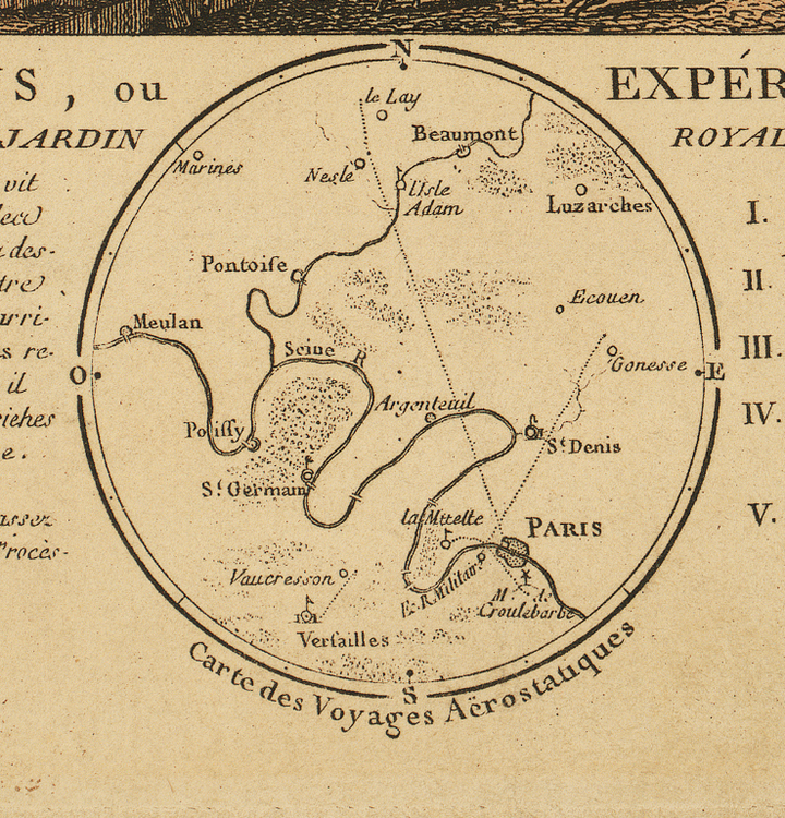 Bildkonst – Luftballong över Paris – 1783