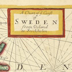 Karta – Gotland, Öland, Stockholm – 1702