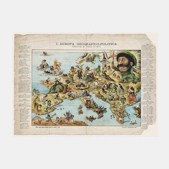 Karta – Europas geografi & politik, satir – 1871