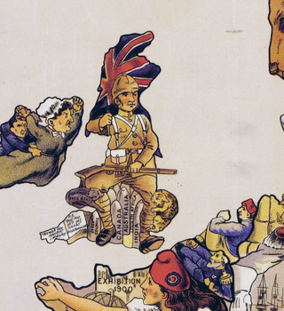 Karta – John Bull and his friends, satir – 1900
