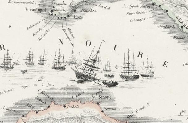 Kartbild – Europa, Carte du Théâtre de la Guerre – 1855