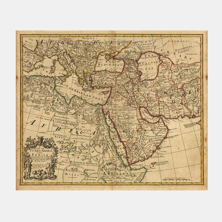 Karta – Turkiet, Saudi, Persien – 1721