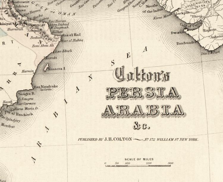 Karta –  Colton's Persia Arabia – 1855