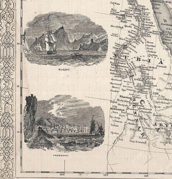 Karta – Johnson's Turkey in Asia Persia Arabia – 1866