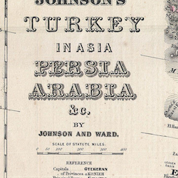 Karta – Johnson's Turkey in Asia Persia Arabia – 1866