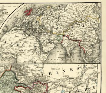 Karta – Centrala Asien – 1885