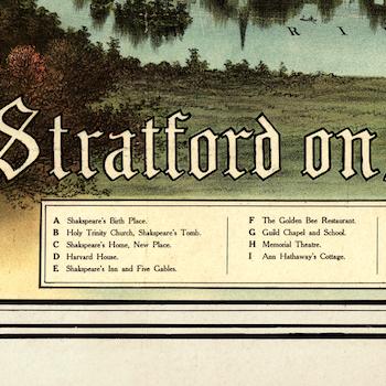 """Karta/bild – Shakespear """"Stratford on Avon""""  – 1716"""