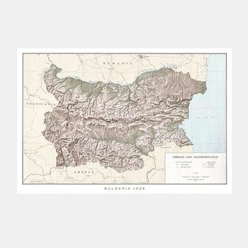 Karta – Bulgarien – 1958