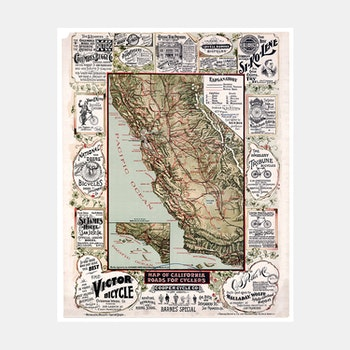 Karta/bild – Cykelkarta Kalifornien – 1895