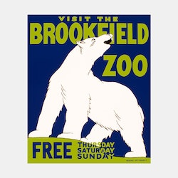 Poster – Visit The Brookfield Zoo – 1936