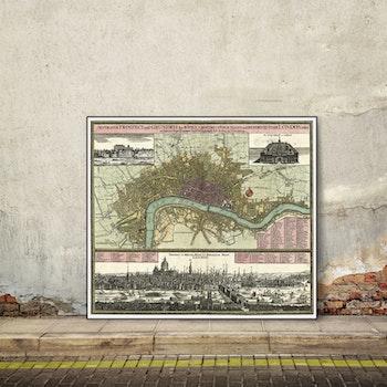 Karta och illustration – London – 1700-tal