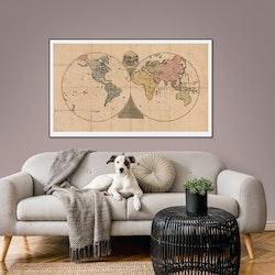 Världskarta, vintagestil – 1800-tal