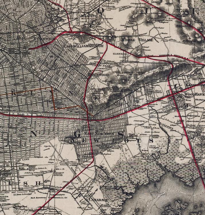 Karta – New York, Brooklyn, Manhattan – 1885