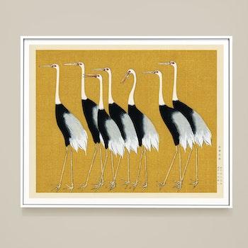 Poster – Flock med tranor – Japan 1700-tal