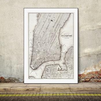 Karta – City of New York –  1850