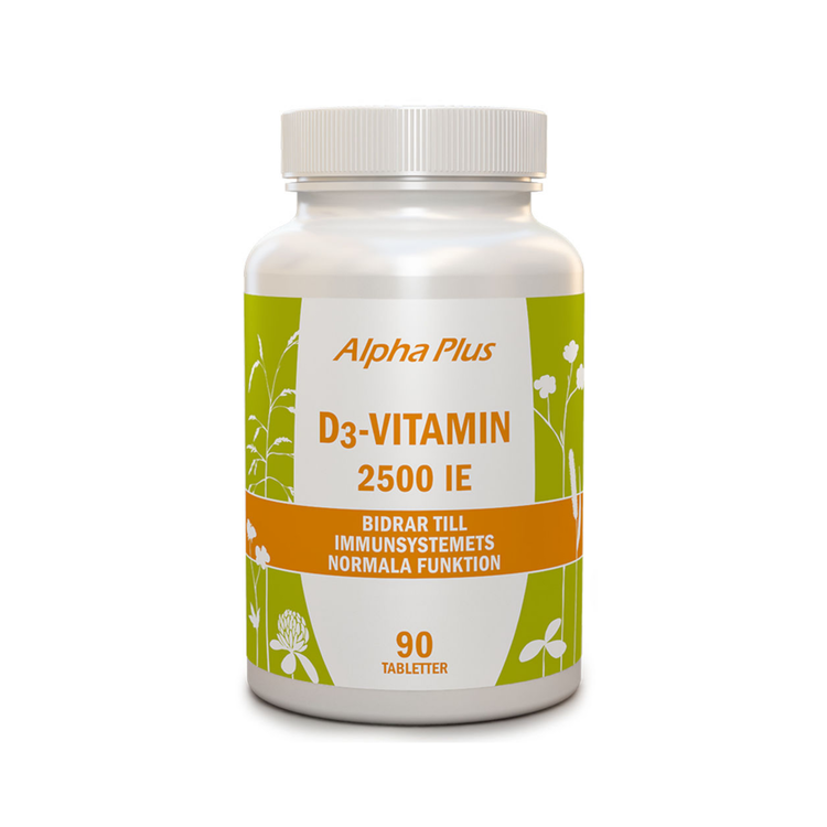 Alpha Plus D3-vitamin 2500 IE, 90 tabletter