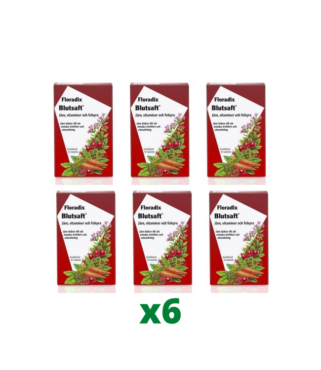 6 x Floradix Blutsaft, 50 tabletter