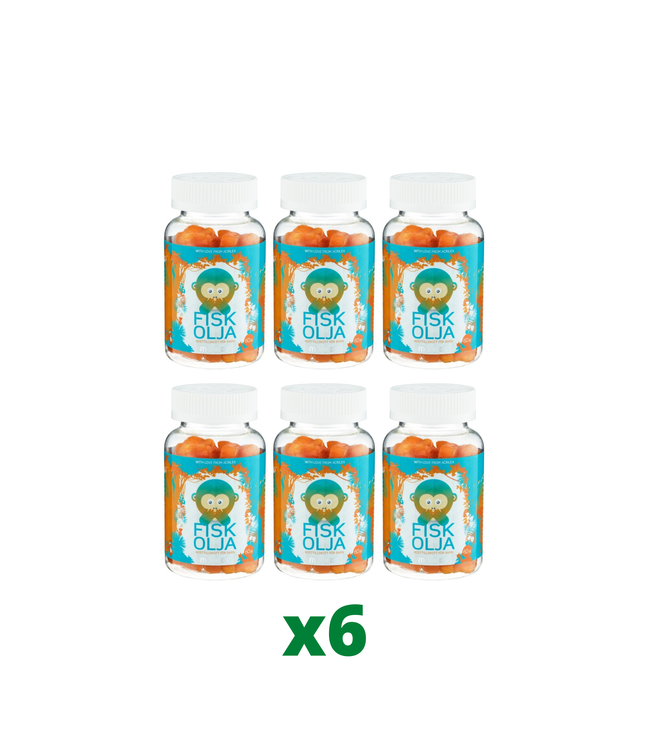 6 x Monkids Fiskolja, 60 tabletter