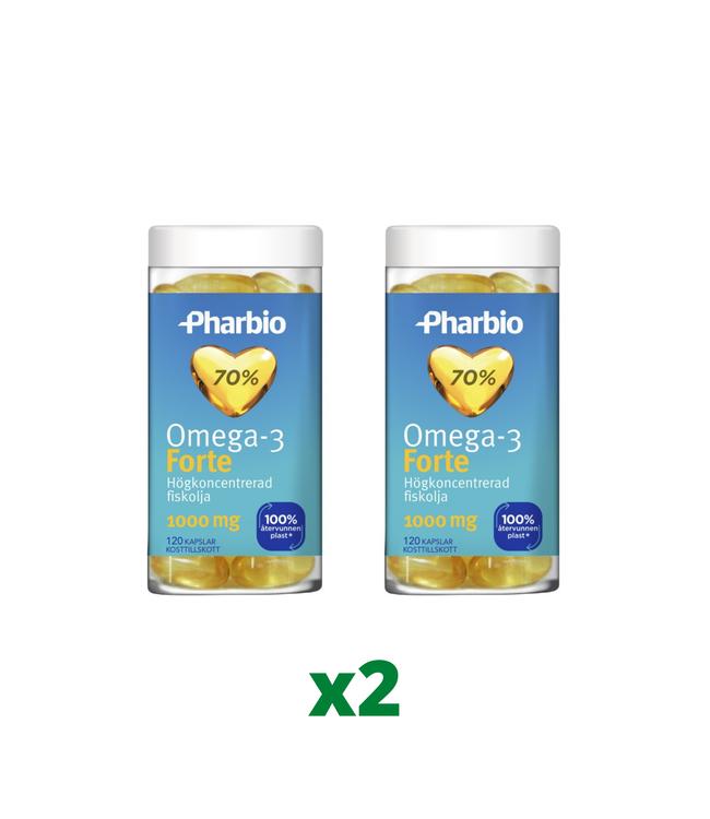 2 x Pharbio Omega-3 Forte, 120 kapslar