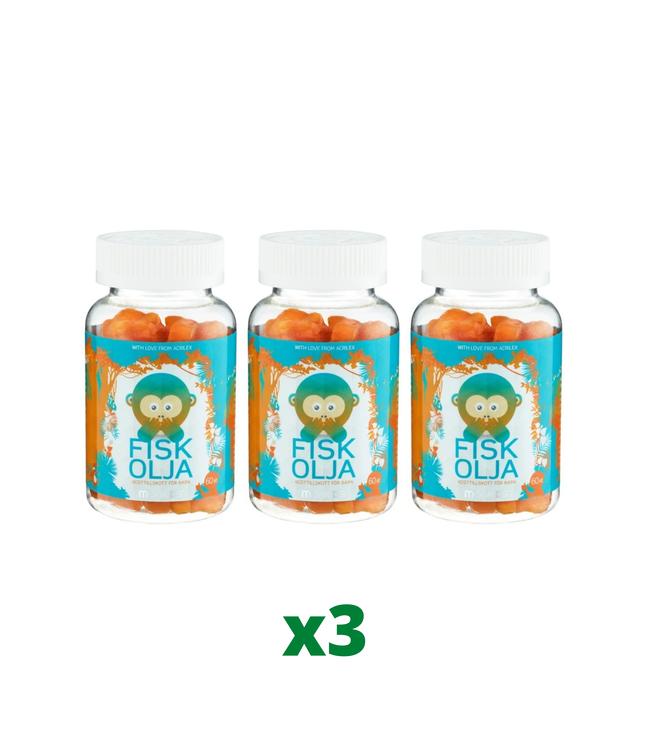 3 x Monkids Fiskolja, 60 tabletter