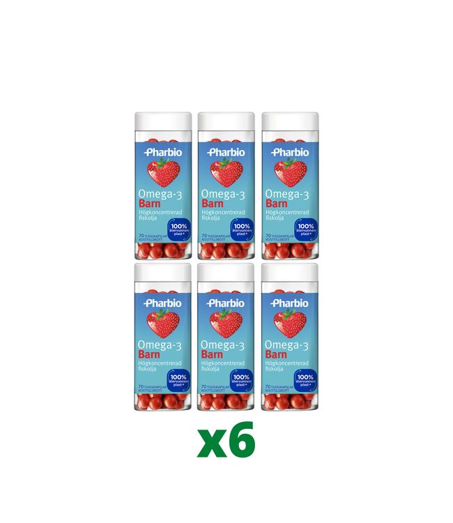6 x Pharbio Omega-3 Barn, 70 kapslar