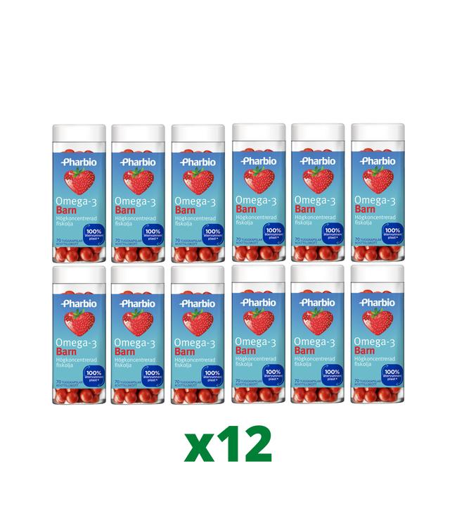 12 x Pharbio Omega-3 Barn, 70 kapslar