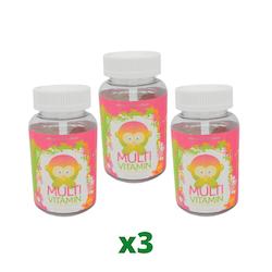 3 x Monkids Multi Vitamin 60 tuggtabletter