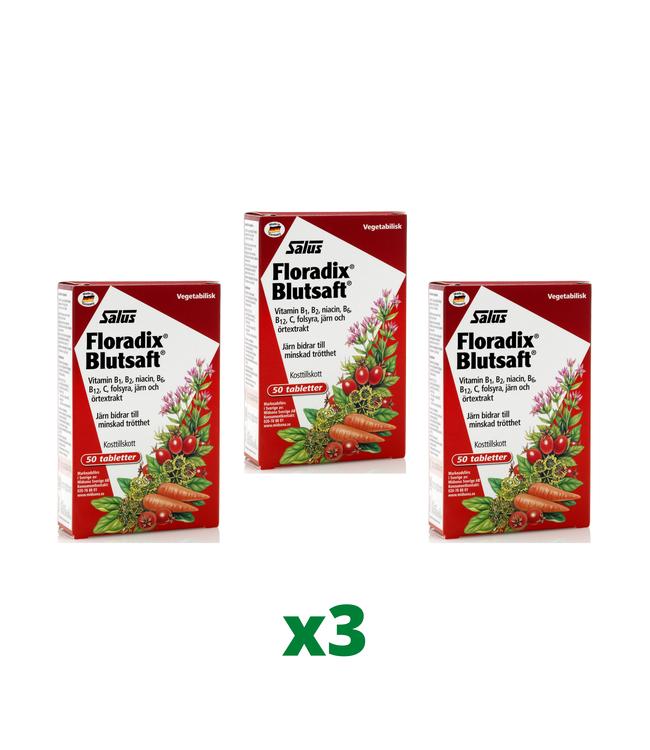 3 x Floradix Blutsaft, 50 tabletter