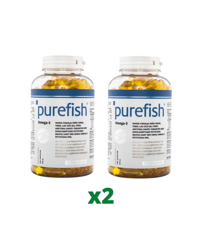 2 x Elexir Purefish Omega-3, 180 kapslar