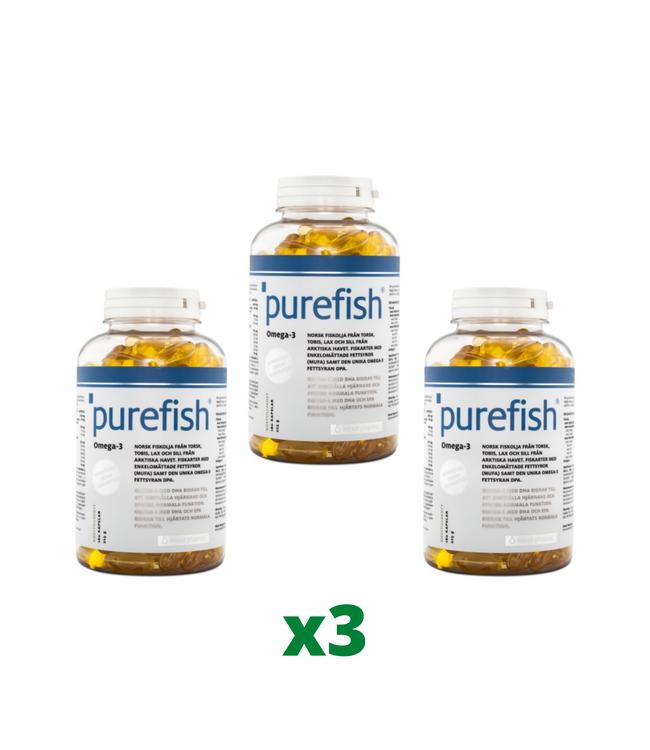 3 x Elexir Purefish Omega-3, 180 kapslar