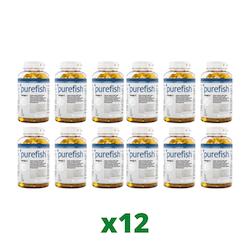 12 x Elexir Purefish Omega-3, 180 kapslar