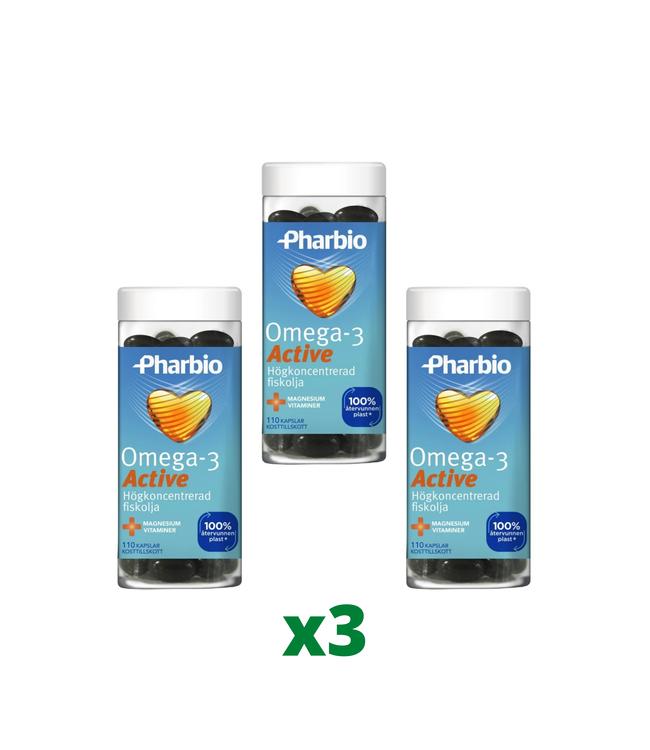 3 x Pharbio Omega-3 Active, 110 Kapslar