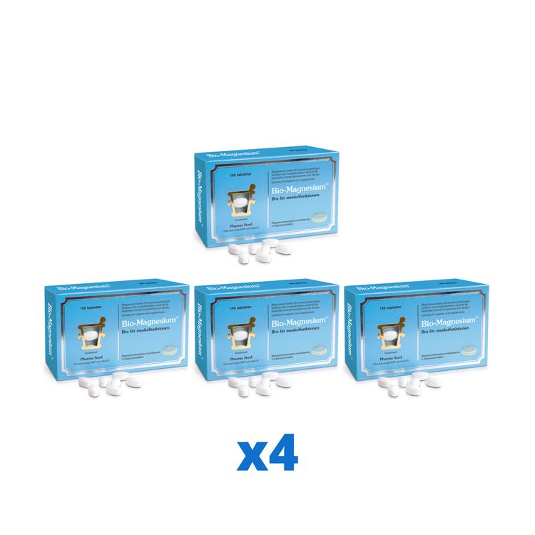 4 x Pharma Nord Bio-Magnesium 200 mg 150 tabletter