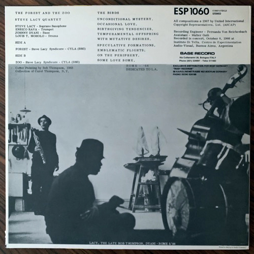 STEVE LACY The Forest And The Zoo (Base - Italy reissue) (EX) (NWW List) LP