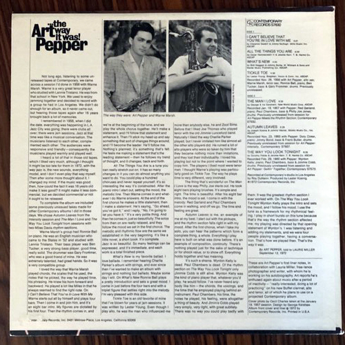 ART PEPPER ...The Way It Was! (Contemporary - USA later 70's reissue) (VG+) LP