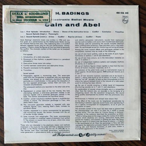 "HENK BADINGS Electronic Ballet Music ""Cain And Abel"" (Philips - Holland original) (VG+/EX) 7"""