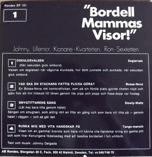 """JOHNNY OCH LILLEMOR Bordell Mammas Visor! (Rondex - Sweden original) (EX/VG) 7"""""""