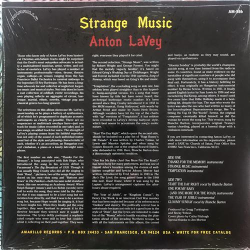 """ANTON LAVEY Strange Music (Amarillo - USA original) (NM/EX) 10"""""""