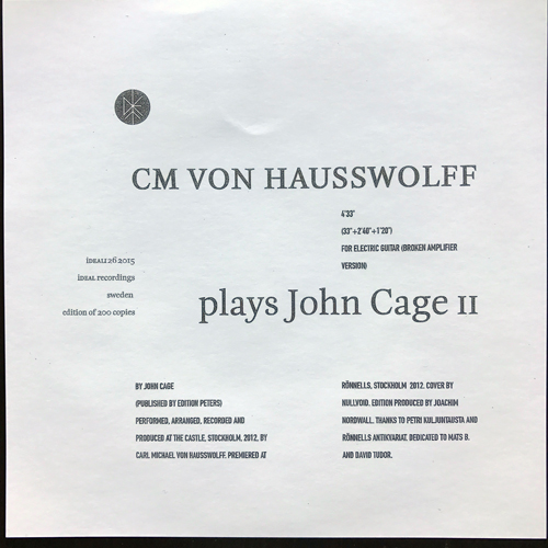 "CM VON HAUSSWOLFF Plays John Cage II (iDEAL - Sweden original) (NM) FLEXI 7"""