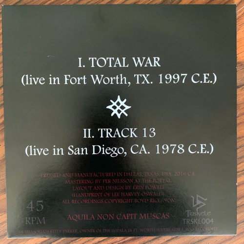 """NON Total War (Red vinyl. With patch and sticker) (Triskele - USA original) (NM) 7"""""""