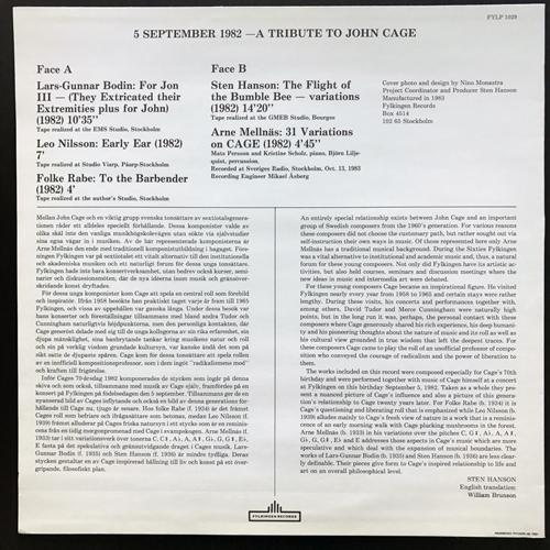 VARIOUS 5 September 1982 - A Tribute To John Cage (Fylkingen - Sweden original) (EX/NM) LP