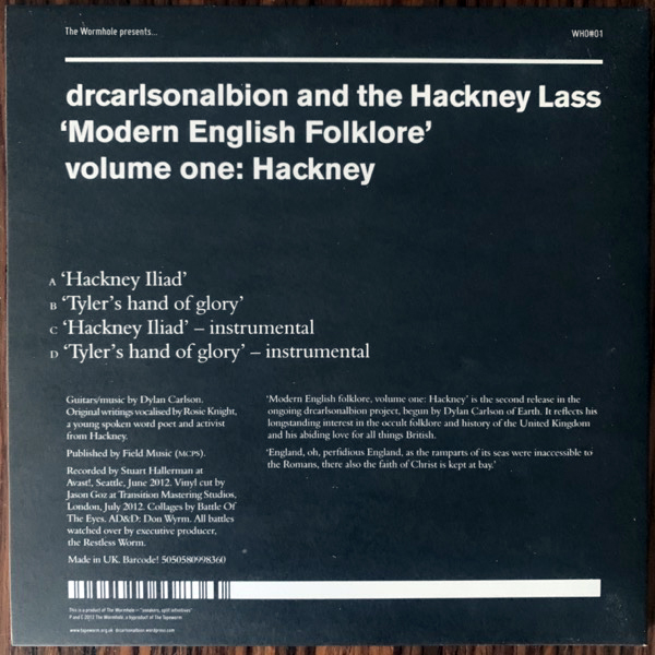 DRCARLSONALBION AND THE HACKNEY LASS Modern English Folklore Volume One: Hackney (Clear vinyl) (The Wormhole - UK original) (NM) 2x7""