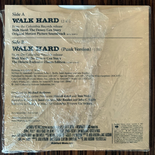 "SOUNDTRACK Dewey Cox – Walk Hard (Promo) (Columbia - USA original) (NM/EX) 7"""