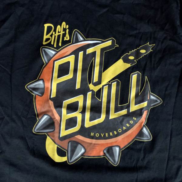 BACK TO THE FUTURE Biff's Pit bull Hoverboards (S) (USED) T-SHIRT