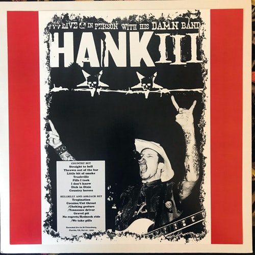 HANK III/ASSJACK Live & In Person With His Damn Band (Blue vinyl) (No label - Unofficial release) (NM/EX) LP