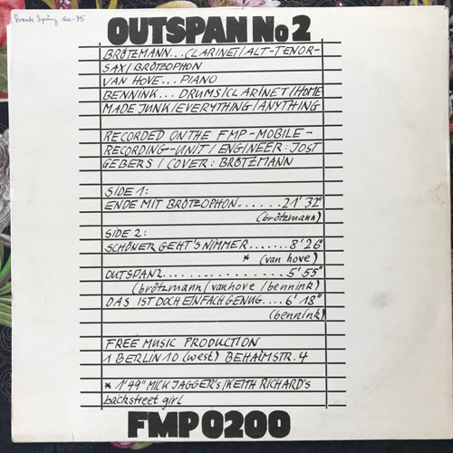 BRÖTZMANN, VAN HOVE, BENNINK Outspan No 2 (FMP - Germany original) (VG+) LP