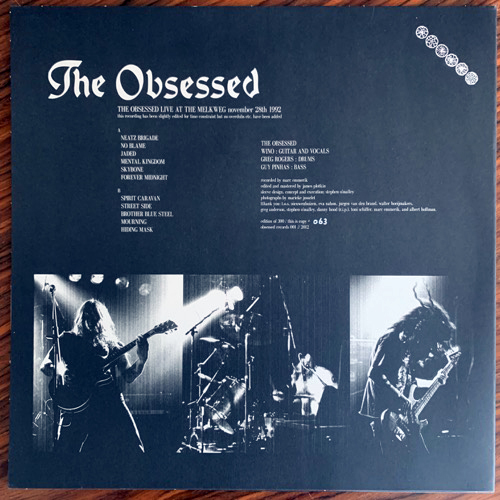 OBSESSED, the The Obsessed Live At The Melkweg November 28th 1992 (Obsessed - Holland original) (NM) LP+7""