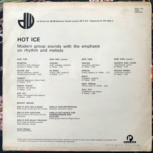 ALAN PARKER Hot Ice (Music De Wolfe - UK original) (VG-) LP