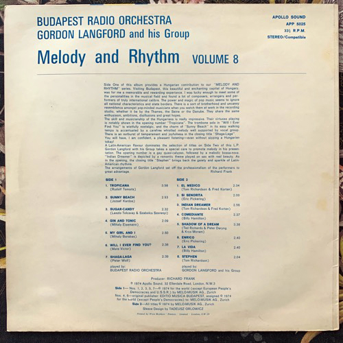 BUDAPEST RADIO ORCHESTRA, the/GORDON LANGFORD AND HIS GROUP Melody And Rhythm Vol. 8 (Apollo Sound - UK original) (VG+/EX) LP