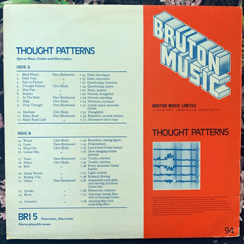 DAVE RICHMOND/CLIVE HICKS Thought Patterns (Bruton Music - UK original) (VG+) LP